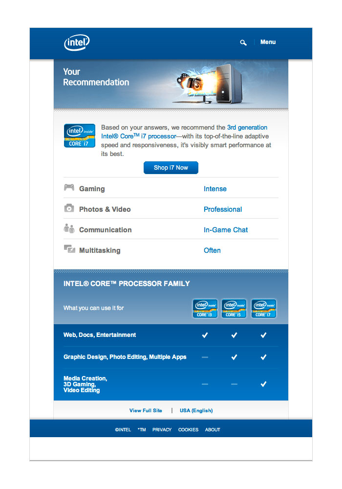 Intel – Mobile Site